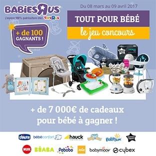 Jeu Babies'R'Us : + de 7000€ cadeaux pour bébé à gagner