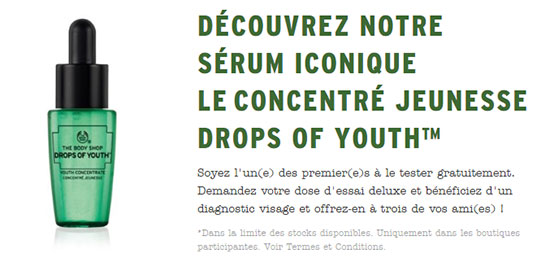 Dose d'essai Drops of Youth offerte et diagnotic visage gratuit