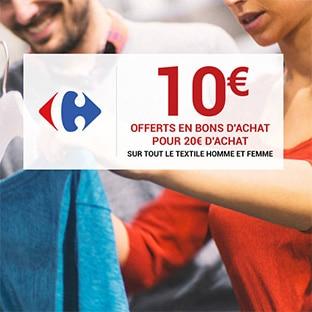 Bon d'achat Carrefour textile de 10€ offert pour 20€ d'achat