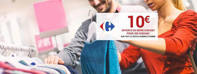 Carrefour Textile : Coupon de 10€ offert par tranche de 20€ d'achat