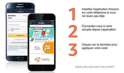 recevez un coupon de 5 euros avec l'application Amazon