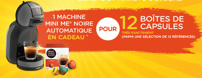 boîtes de capsules achetées = machine Dolce Gusto Mini Me gratuite