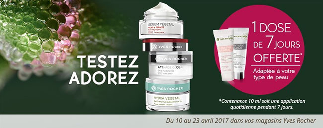 Boutiques Yves Rocher : 1 dose d'essai de 7 jours offerte