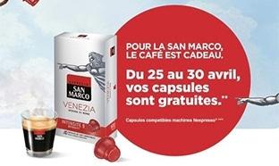 Offre de remboursement San Marco : Capsules de café offertes