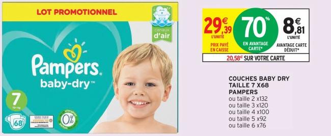 Promotion sur les couches Pampers chez Intermarché