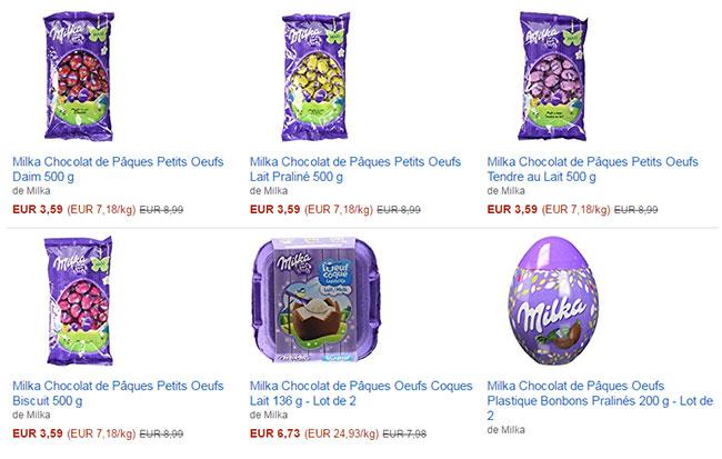Oeufs en chocolat Milka en promotion
