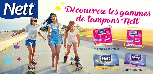 testez gratuitement les tampons Nett ProComfort et Body Adapt