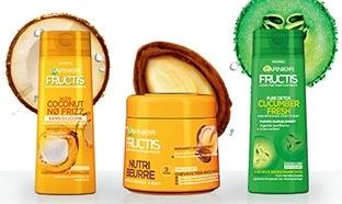 échantillons de masque et shampoings Garnier Fructis