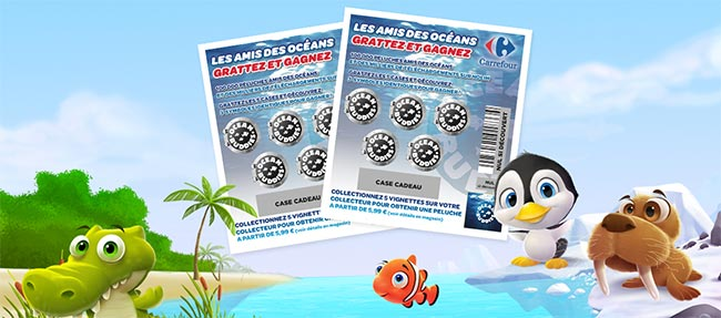 Tickets à gratter Ocean Buddies de Carrefour
