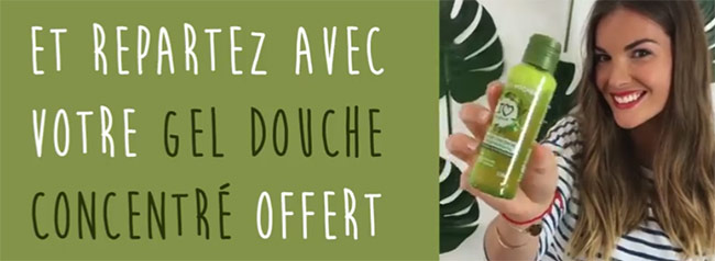 repartez avec un gel douche concentré Yves Rocher gratuit