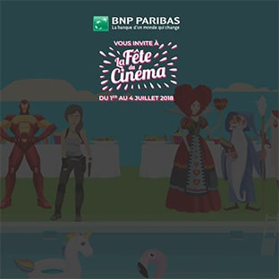 Jeu BNP Paribas Fête du Cinéma 2018 : places gratuites à gagner
