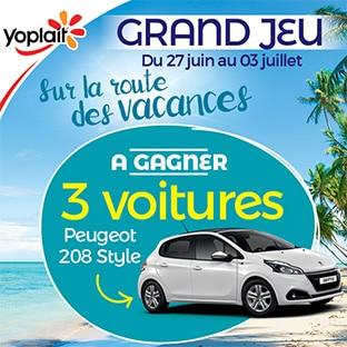 Jeu Sur la route des vacances Yoplait : 3 voitures à gagner