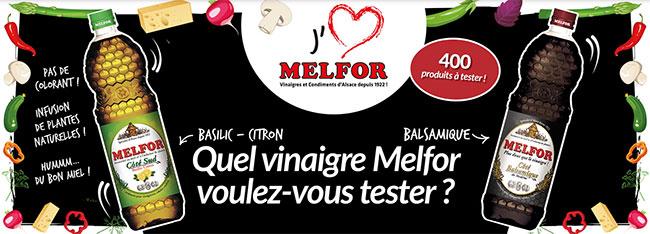 Bouteilles de vinaigre Melfor offertes aux 400 testeurs