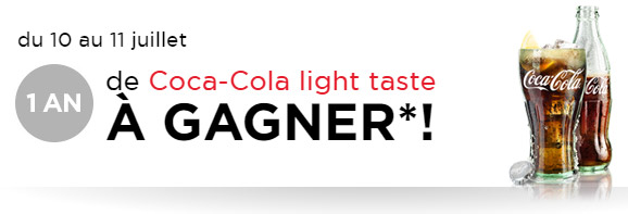 Tentez de recevoir l'un des lots de canettes de Coca-Cola light Taste