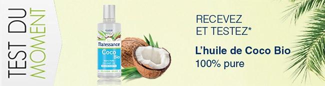 testez gratuitement l'huile de Coco Bio Natessance