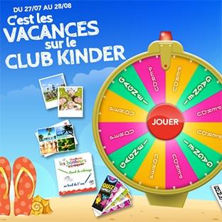 Jeu «C'est les vacances sur le Club Kinder» : 1145 lots à gagner