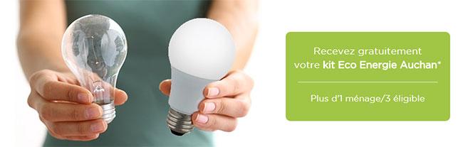 kit eco energie auchan gratuit coffret de 10 produits offerts. Black Bedroom Furniture Sets. Home Design Ideas