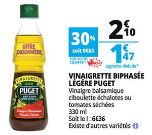 Promo sur les vinaigrettes Puget chez Auchan