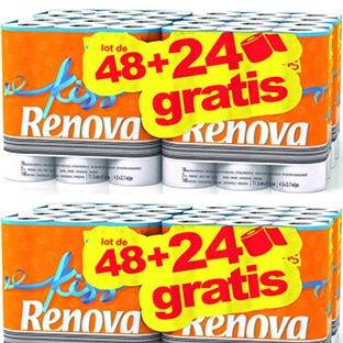 Promo Leclerc : 72 rouleaux de papier WC Renova à 11,99€