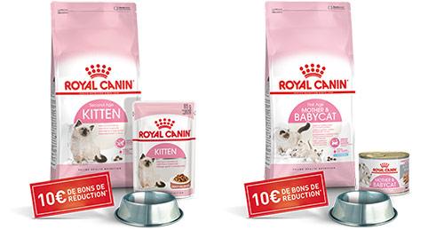 Coffrets Royal Canin : croquettes, gamelles et bons offerts