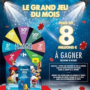 Jeu Le Mois Carrefour : 8 millions d'€ en bons d'achat à gagner
