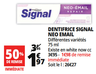 Dentifrice Signal gratuit en promo chez Auchan