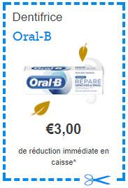 Bon de réduction dentifrice Oral-B
