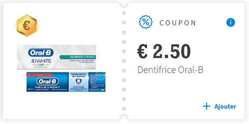 Bon de réduction dentifrice Oral-B