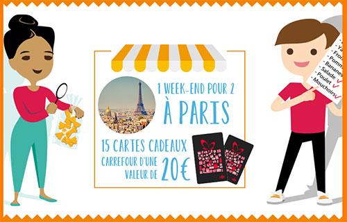 Cartes cadeaux Carrefour et séjour à Paris à remporter