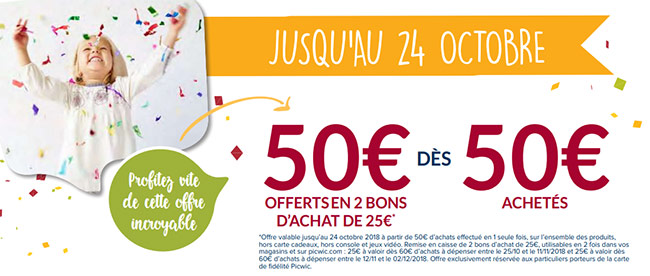 Offre de lancement du catalogue Picwic : 2 coupons offerts