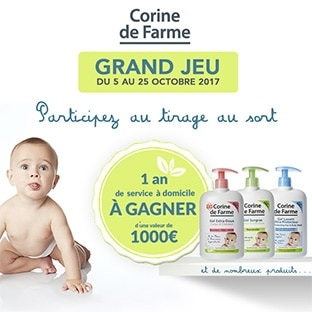 Jeu Corine de Farme : Service à domicile et kits bébé à gagner