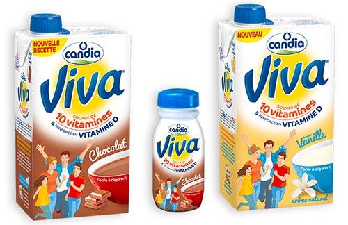Lait Viva Vanille et Chocolat de Candia
