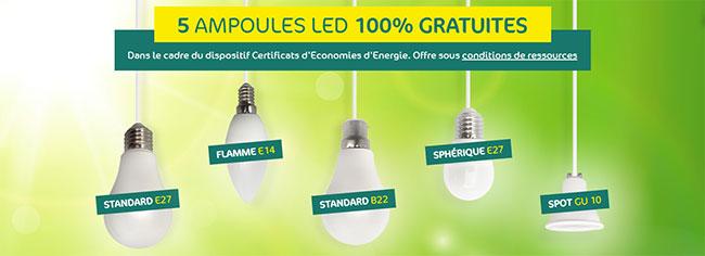 Pack de 5 ampoules LED offert par Carrefour