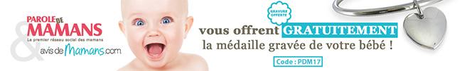 Bijou gravé gratuit (hors livraison) offert par Parole de Mamans