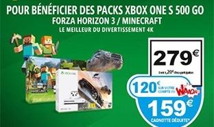 Auchan : Pack Xbox One S 500Go à 159€ (120€ remboursé)