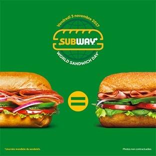 Bon plan Subway : 1 sandwich SUB15 acheté = 1 SUB15 offert