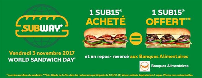 World Sandwich Day 2017 : 1 SUB15 gratuit pour 1 SUB15 acheté