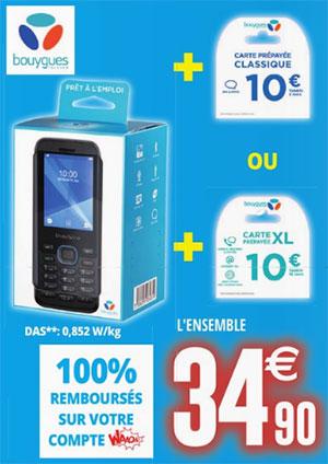 Téléphone portable avec 10€ de crédits Bouygues gratuit
