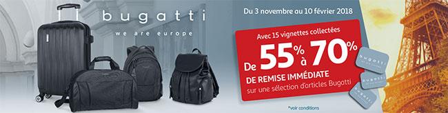 réduction sur de nombreux articles Bugatti avec les vignettes Auchan