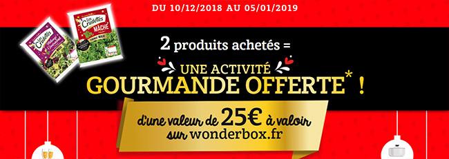 Code Wonderbox de 25€ offert pour l'achat de 2 produits Les Crudettes