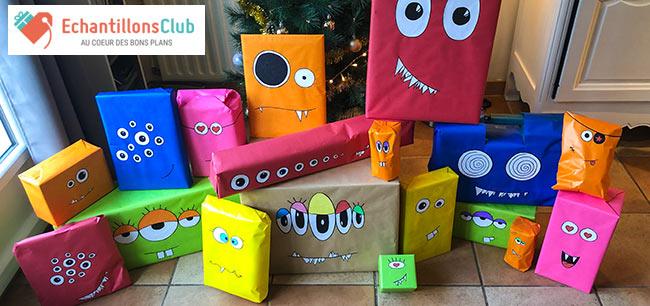 un thème pour emballer différents cadeaux : Monstres de Noël