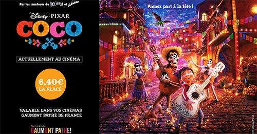 Séances de cinéma Gaumont Pathé moins chères pour découvrir Coco de Disney Pixar