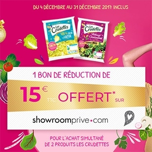 Les Crudettes : 2 produits achetés = 15€ Showroomprive offerts