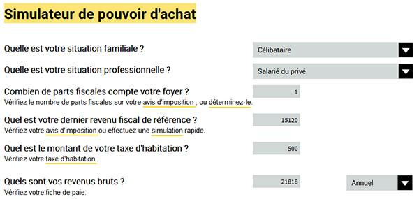 Simulateur pouvoir d'achat sur economie.gouv.fr