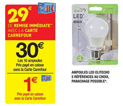 promo : Pack de 10 ampoules chez Carrefour