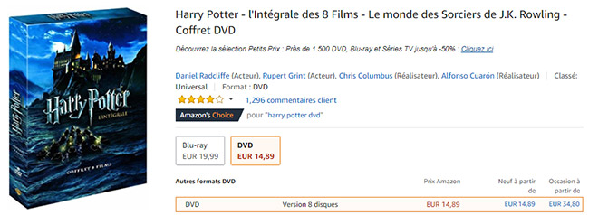 Promo Amazon : Coffrets Harry Potter avec 50% de remise