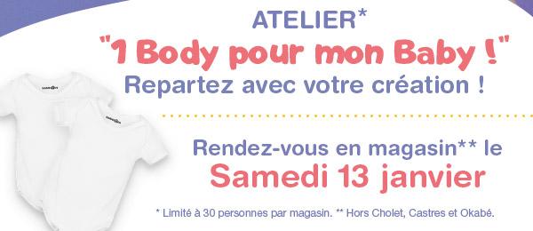 """Body bébé offert lors de l'Atelier Babies""""R""""Us"""