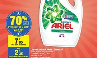 Lessive Ariel pas chère : -70% Carrefour et bon de réduction
