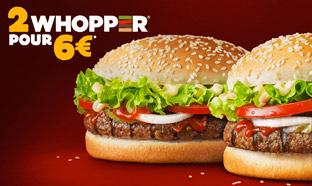 Promo Burger King : 2 Whopper pour 6€ seulement