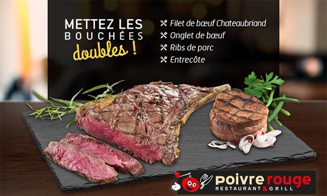 Une grillade de viande gratuite pour une grillade Poivre Rouge achetée
